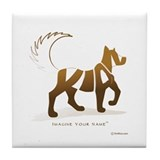 Kian Light Brown Dog Tile Coaster