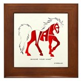 Nadia Red Horse Framed Tile