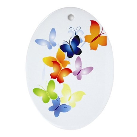 Butterfly Cluster Oval Ornament