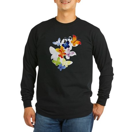 Butterfly Cluster Long Sleeve Dark T-Shirt