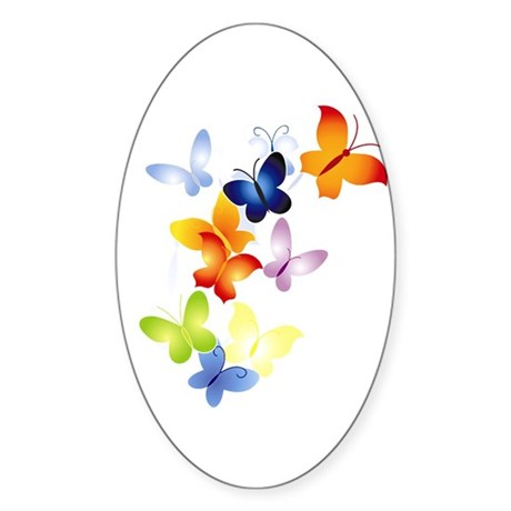 Butterfly Cluster Oval Sticker