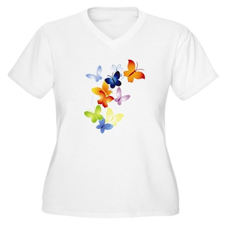 Butterfly Cluster Women's Plus Size V-Neck T-Shirt