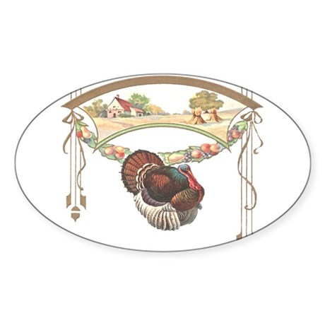 Thanksgiving Turkey Oval Sticker