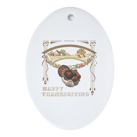 Thanksgiving Turkey Oval Ornament