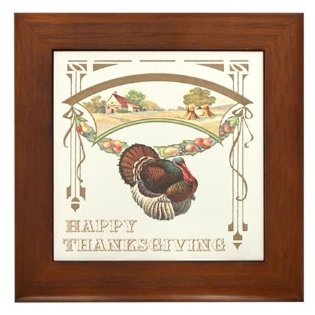 Thanksgiving Turkey Framed Tile