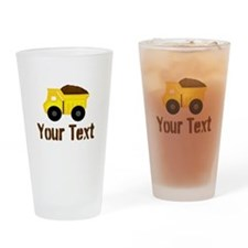 Personalizable Dump Truck Brown Drinking Glass