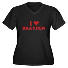 I LOVE BRAYDEN Women's Plus Size V-Neck Dark T-Shi