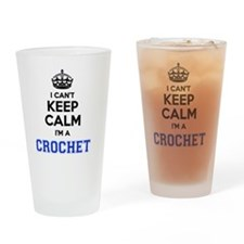 Unique Keep calm and crochet Drinking Glass
