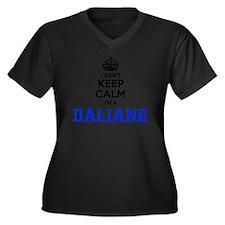 Cute Dalian Women's Plus Size V-Neck Dark T-Shirt