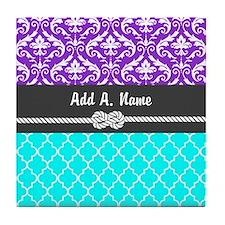 Dark Orchid Damask Aqua Quatrefoil Tile Coaster