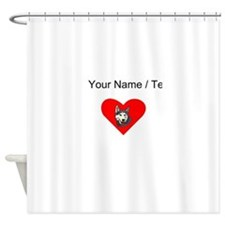 Custom Siberian Husky Heart Shower Curtain