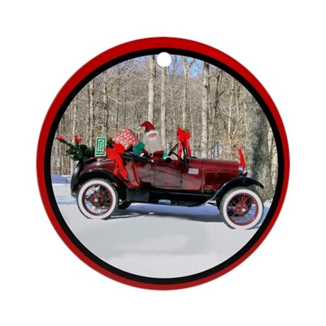 Antique Car Christmas Ornament (Round)