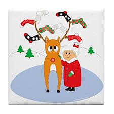 Rudolf's Toasty Chritmas! Tile Coaster