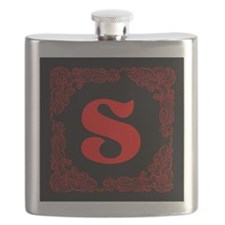 Black Personalized Monogram Initial Flask