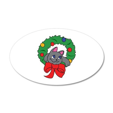 CAT IN CHRISTMAS WREATH Wall Decal