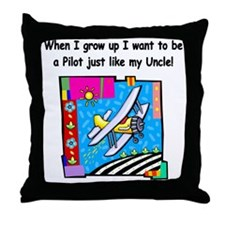 Airplane Pilot Uncle Throw Pillow