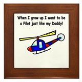 Helicopter Pilot Daddy Framed Tile