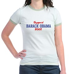 Support BARACK OBAMA 2008 Jr. Ringer T-Shirt
