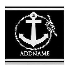 Black and White Nautical Anchor Perso Tile Coaster