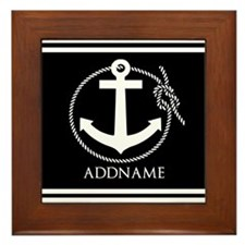 Black and White Nautical Anchor Person Framed Tile