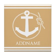 Burly Wood Rope Anchor Personalized Tile Coaster