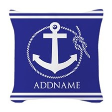 Blue Nautical Rope and Anchor Woven Throw Pillow