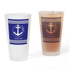 Blue Nautical Rope and Anchor Perso Drinking Glass