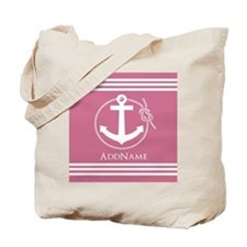 Pale Violet Red Nautical Rope and Anchor Tote Bag