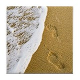 Footprints in the Sand Tile Coaster