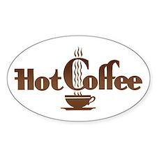 Hot Coffee Oval Sticker