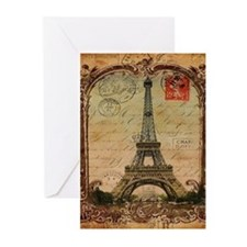 vintage scripts postage paris eiffe Greeting Cards