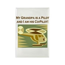 Grandpa's Co-Pilot Helicopter Rectangle Magnet