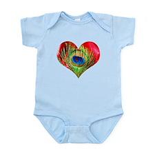 Red Peacock Heart Infant Bodysuit