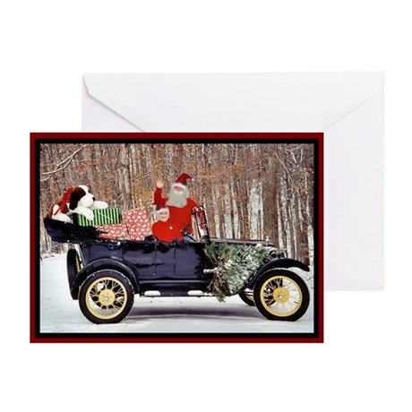 (10) Mr. and Mrs. Claus Antique Car Greeting Cards