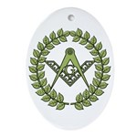 Masons square in a circle Oval Ornament