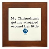 Wrapped Around Her Paw (Chihuahua) Framed Tile