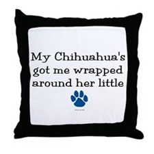 Wrapped Around Her Paw (Chihuahua) Throw Pillow