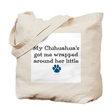 Wrapped Around Her Paw (Chihuahua) Tote Bag