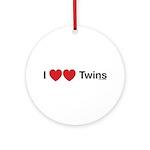 I Love Twins Ornament (Round)