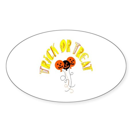 Trick or Treat Pumpkins Oval Sticker