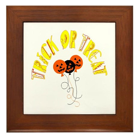 Trick or Treat Pumpkins Framed Tile