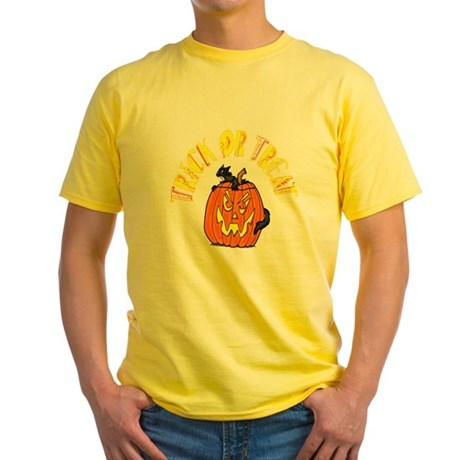 Jack o Lantern Cat Yellow T-Shirt
