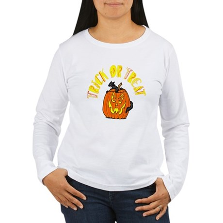 Jack o Lantern Cat Women's Long Sleeve T-Shirt