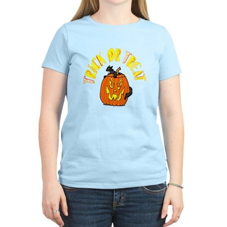 Jack o Lantern Cat Women's Light T-Shirt