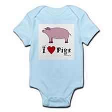 Pig Infant Creeper: I love Pigs
