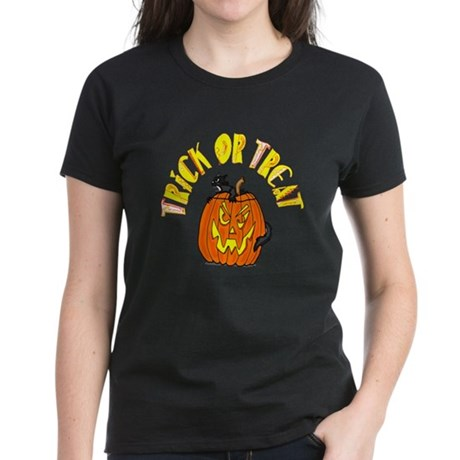 Jack o Lantern Cat Women's Dark T-Shirt