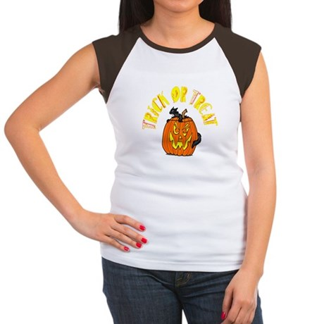 Jack o Lantern Cat Women's Cap Sleeve T-Shirt