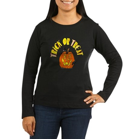 Jack o Lantern Cat Women's Long Sleeve Dark T-Shir