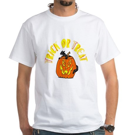 Jack o Lantern Cat White T-Shirt