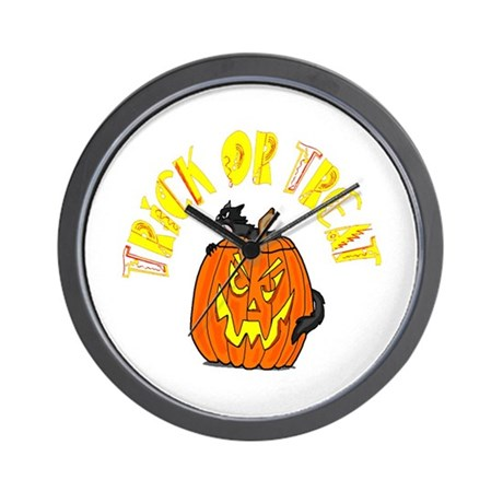 Jack o Lantern Cat Wall Clock